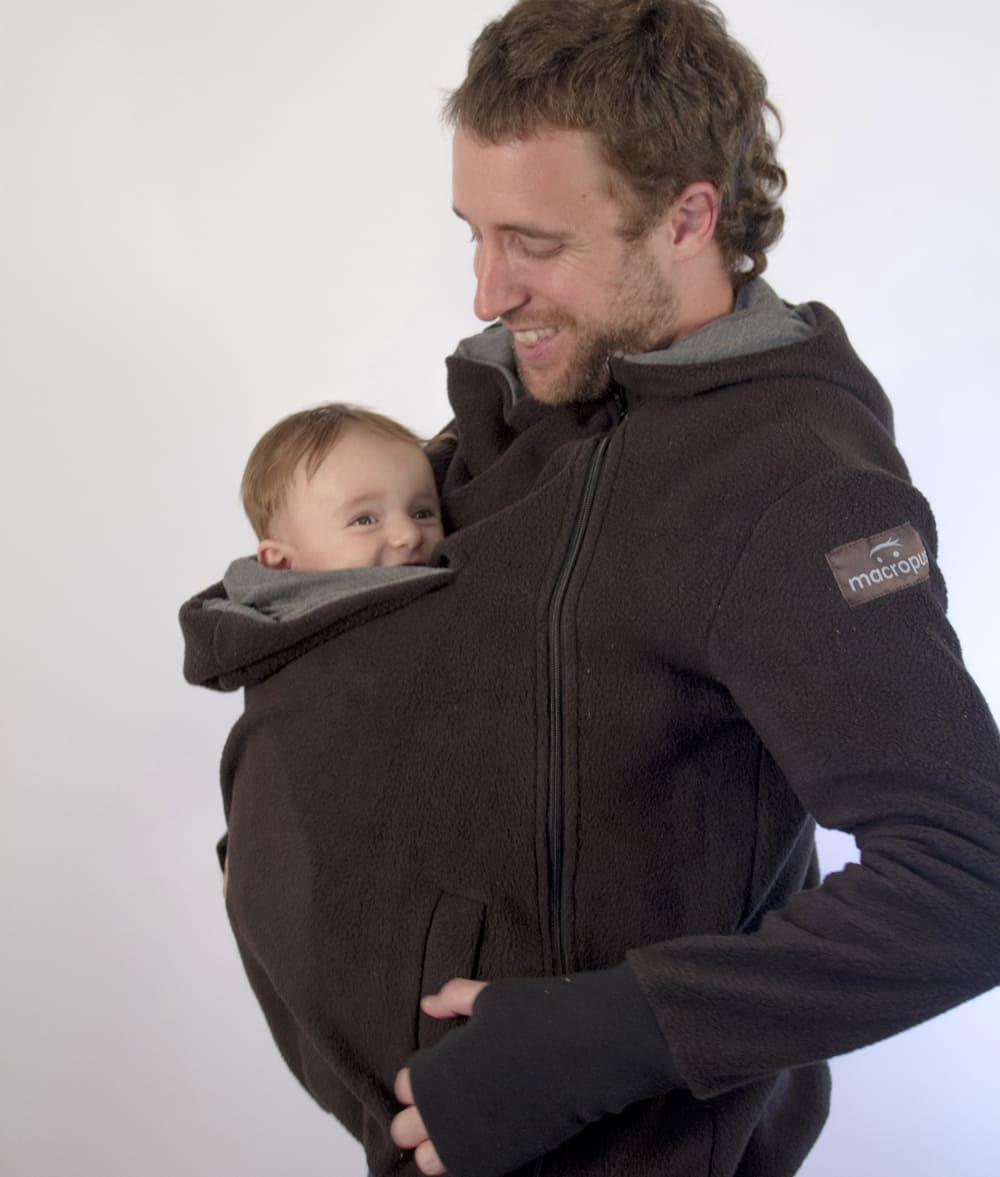 Abrigo porteo y embarazo polar negro for Abrigo embarazo y porteo